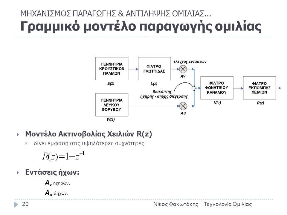 Τεχνολογία ΟμιλίαςΝίκος Φακωτάκης20  Μοντέλο Ακτινοβολίας Χειλιών R(z)  δίνει έμφαση στις υψηλότερες συχνότητες  Εντάσεις ήχων: Α v ηχηρών, Α u άηχ
