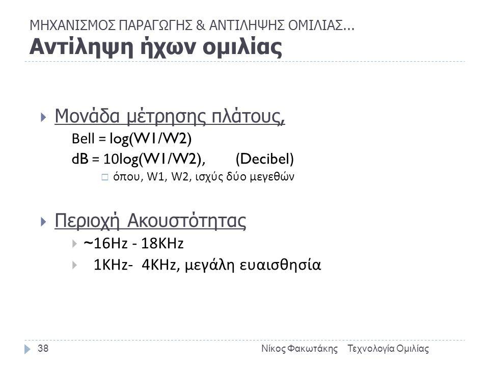 ΜΗΧΑΝΙΣΜΟΣ ΠΑΡΑΓΩΓΗΣ & ΑΝΤΙΛΗΨΗΣ ΟΜΙΛΙΑΣ... Αντίληψη ήχων ομιλίας Τεχνολογία ΟμιλίαςΝίκος Φακωτάκης38  Μονάδα μέτρησης πλάτους, Bell = log(W1/W2) dB
