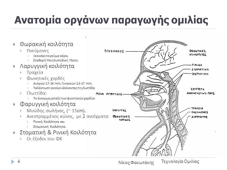 Ανατομία οργάνων παραγωγής ομιλίας  Θωρακική κοιλότητα  Πνεύμονες  Ξεκινάει το ρεύμα αέρα,  Σταθερή Υπο γλωττιδική Πίεση.  Λαρυγγική κοιλότητα 