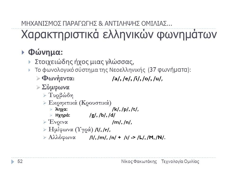 ΜΗΧΑΝΙΣΜΟΣ ΠΑΡΑΓΩΓΗΣ & ΑΝΤΙΛΗΨΗΣ ΟΜΙΛΙΑΣ... Χαρακτηριστικά ελληνικών φωνημάτων Τεχνολογία ΟμιλίαςΝίκος Φακωτάκης52  Φώνημα :  Στοιχειώδης ήχος μιας