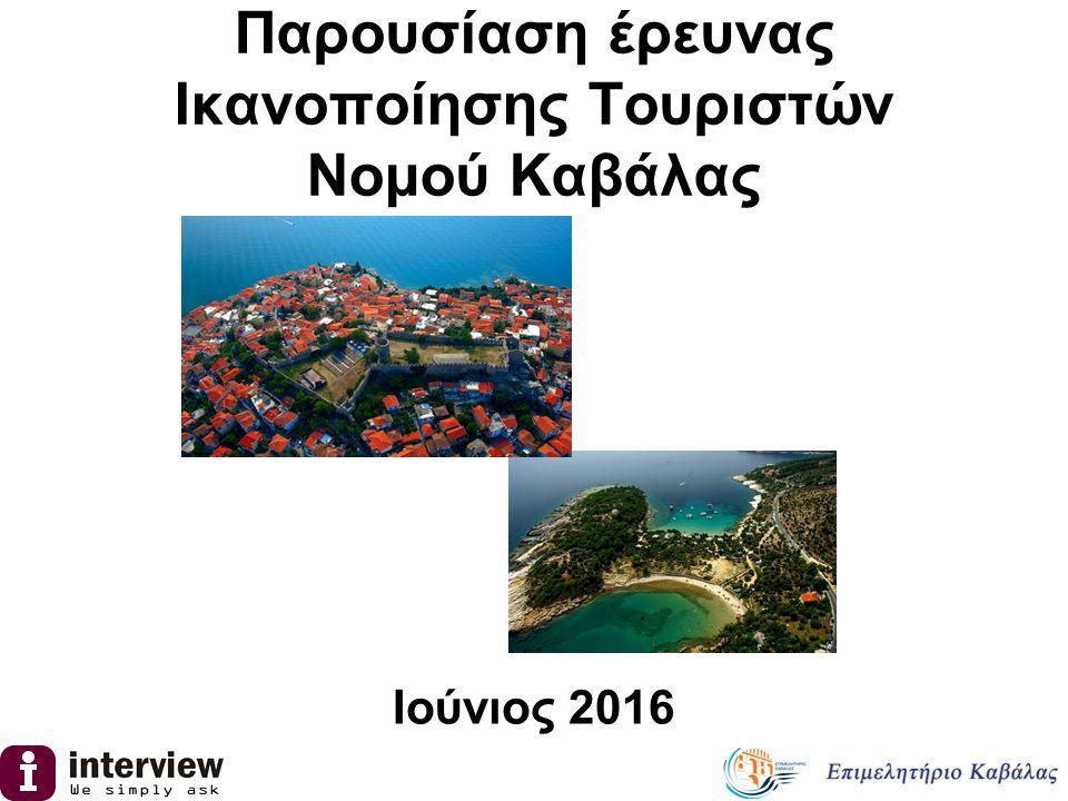 Ταυτότητα της έρευνας Μεθοδολογία  Τηλεφωνική έρευνα, βάση δομημένου ερωτηματολογίου (iCATI)  Γεωγραφική κάλυψη : Αττική, Νομός Θεσσαλονίκης, υπόλοιπη χώρα (εκτός της Περιφέρειας Ανατολικής Μακεδονίας & Θράκης) Μέγεθος δείγματος, περίοδος διεξαγωγής  1.098 άτομα, ηλικίας 18+  Περίοδος διεξαγωγής : 6/6/2016 έως 10/6/2016 Σκοπός  Έρευνα για την εικόνα του Νομού Καβάλας ως τουριστικός προορισμός στο εσωτερικό της χώρας