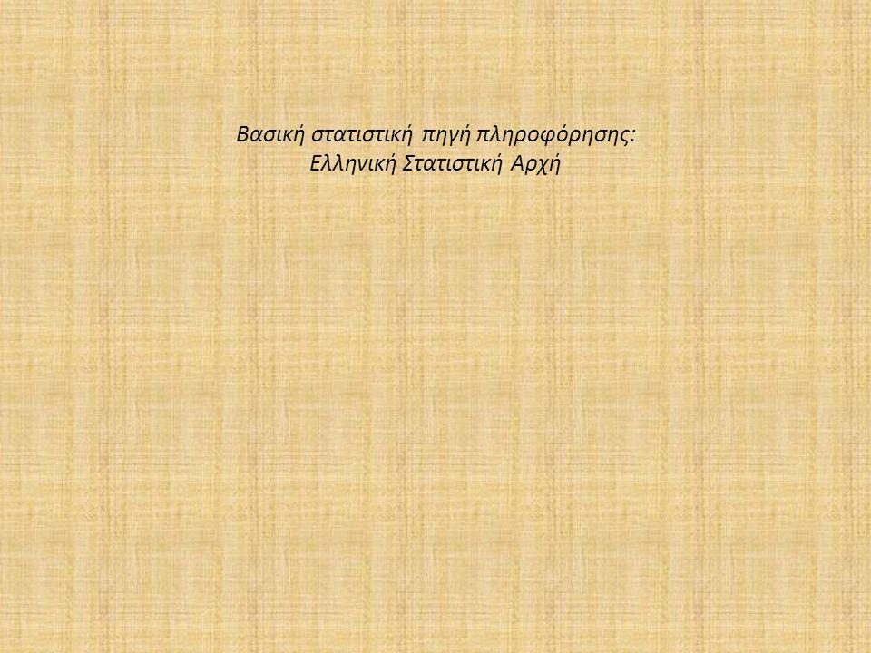 Βασική στατιστική πηγή πληροφόρησης: Ελληνική Στατιστική Αρχή