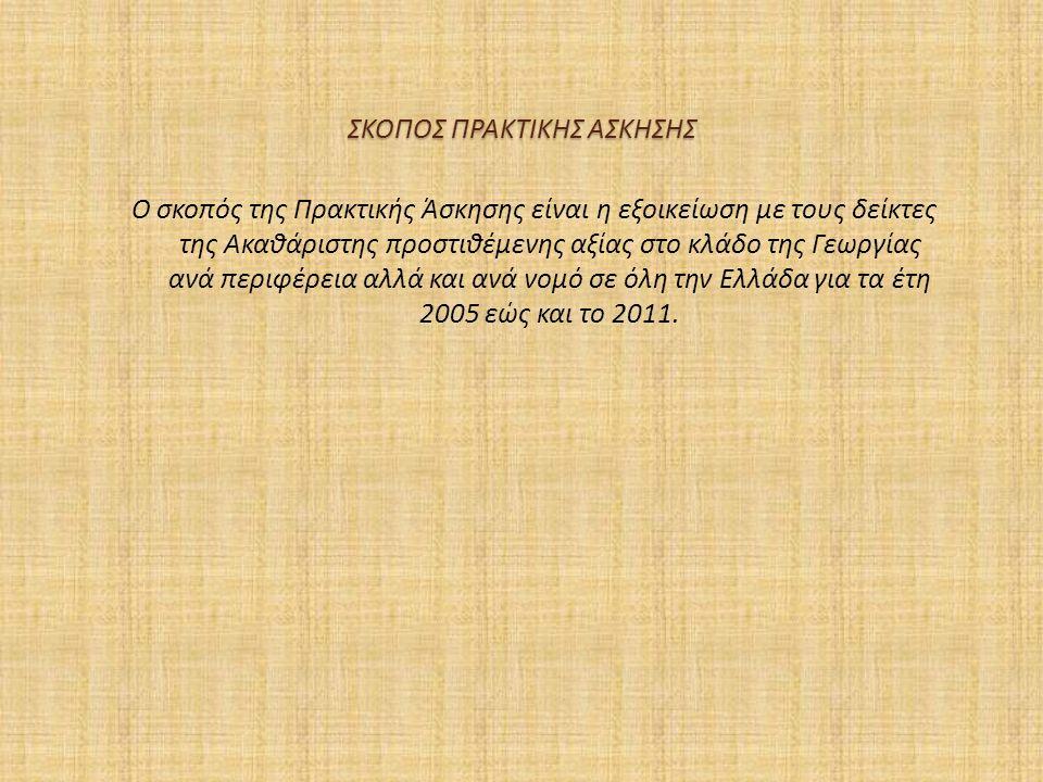 ΣΚΟΠΟΣ ΠΡΑΚΤΙΚΗΣ ΑΣΚΗΣΗΣ Ο σκοπός της Πρακτικής Άσκησης είναι η εξοικείωση με τους δείκτες της Ακαθάριστης προστιθέμενης αξίας στο κλάδο της Γεωργίας ανά περιφέρεια αλλά και ανά νομό σε όλη την Ελλάδα για τα έτη 2005 εώς και το 2011.