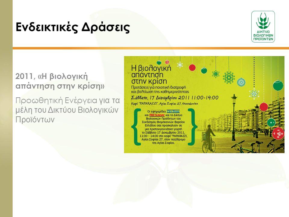 Ενδεικτικές Δράσεις 2011, «Η βιολογική απάντηση στην κρίση» Προωθητική Ενέργεια για τα μέλη του Δικτύου Βιολογικών Προϊόντων