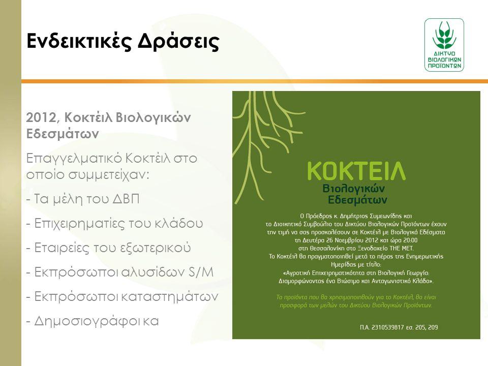 Ενδεικτικές Δράσεις 2012, Κοκτέιλ Βιολογικών Εδεσμάτων Επαγγελματικό Κοκτέιλ στο οποίο συμμετείχαν: - Τα μέλη του ΔΒΠ - Επιχειρηματίες του κλάδου - Ετ