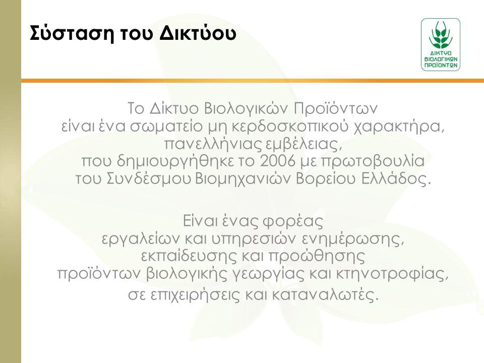 Το Δίκτυο Βιολογικών Προϊόντων είναι ένα σωματείο μη κερδοσκοπικού χαρακτήρα, πανελλήνιας εμβέλειας, που δημιουργήθηκε το 2006 με πρωτοβουλία του Συνδ