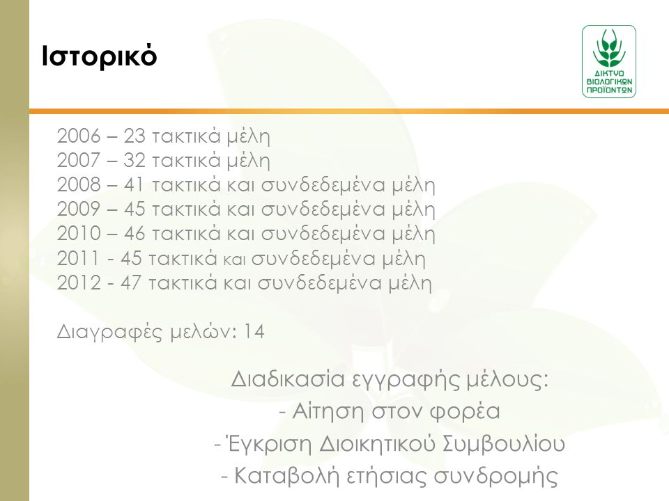 Ιστορικό Διαδικασία εγγραφής μέλους: - Αίτηση στον φορέα - Έγκριση Διοικητικού Συμβουλίου - Καταβολή ετήσιας συνδρομής 2006 – 23 τακτικά μέλη 2007 – 3