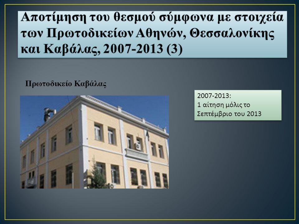 Πρωτοδικείο Καβάλας 2007-2013: 1 αίτηση μόλις το Σε π τέμβριο του 2013 2007-2013: 1 αίτηση μόλις το Σε π τέμβριο του 2013