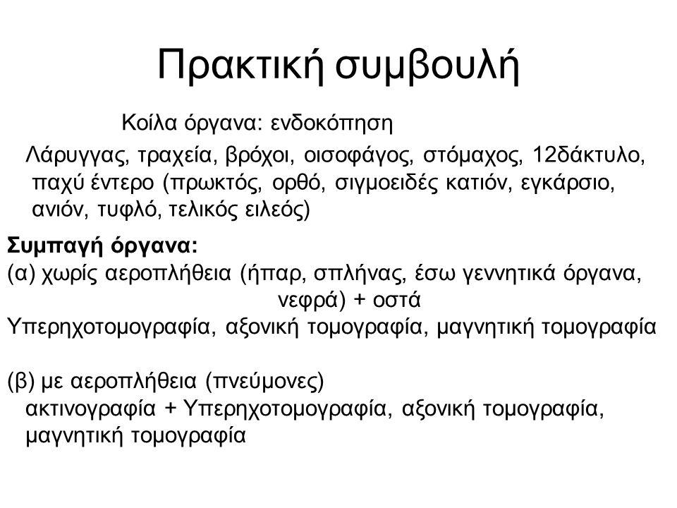 Πρακτική συμβουλή Κοίλα όργανα: ενδοκόπηση Λάρυγγας, τραχεία, βρόχοι, οισοφάγος, στόμαχος, 12δάκτυλο, παχύ έντερο (πρωκτός, ορθό, σιγμοειδές κατιόν, εγκάρσιο, ανιόν, τυφλό, τελικός ειλεός) Συμπαγή όργανα: (α) χωρίς αεροπλήθεια (ήπαρ, σπλήνας, έσω γεννητικά όργανα, νεφρά) + οστά Υπερηχοτομογραφία, αξονική τομογραφία, μαγνητική τομογραφία (β) με αεροπλήθεια (πνεύμονες) ακτινογραφία + Υπερηχοτομογραφία, αξονική τομογραφία, μαγνητική τομογραφία