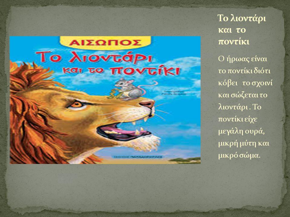 Ο ήρωας είναι το ποντίκι διότι κόβει το σχοινί και σώζεται το λιοντάρι. Το ποντίκι είχε μεγάλη ουρά, μικρή μύτη και μικρό σώμα.