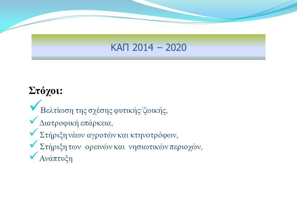 Στόχοι: Βελτίωση της σχέσης φυτικής/ζωικής, Διατροφική επάρκεια, Στήριξη νέων αγροτών και κτηνοτρόφων, Στήριξη των ορεινών και νησιωτικών περιοχών, Ανάπτυξη ΚΑΠ 2014 – 2020