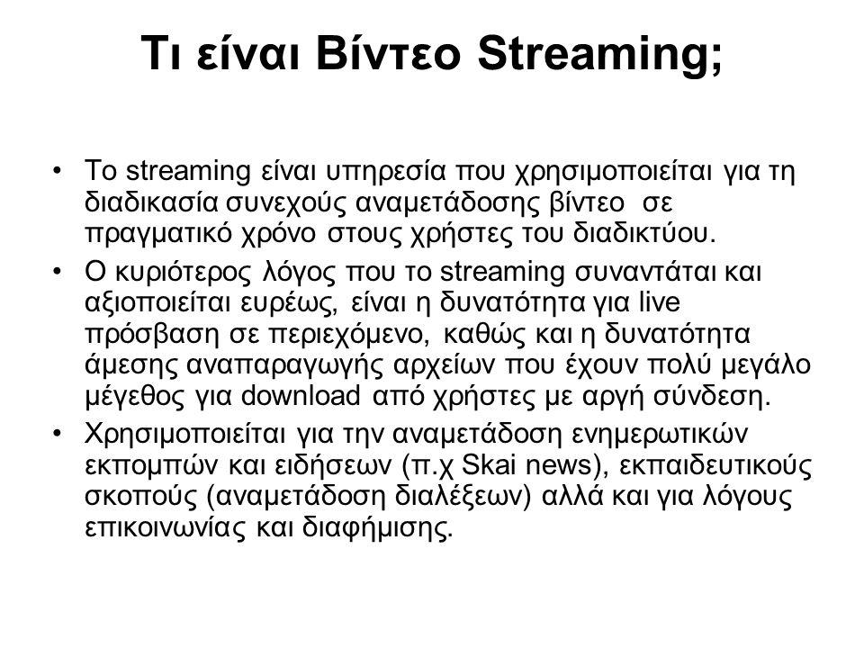 Τι είναι Βίντεο Streaming; Το streaming είναι υπηρεσία που χρησιμοποιείται για τη διαδικασία συνεχούς αναμετάδοσης βίντεο σε πραγματικό χρόνο στους χρ