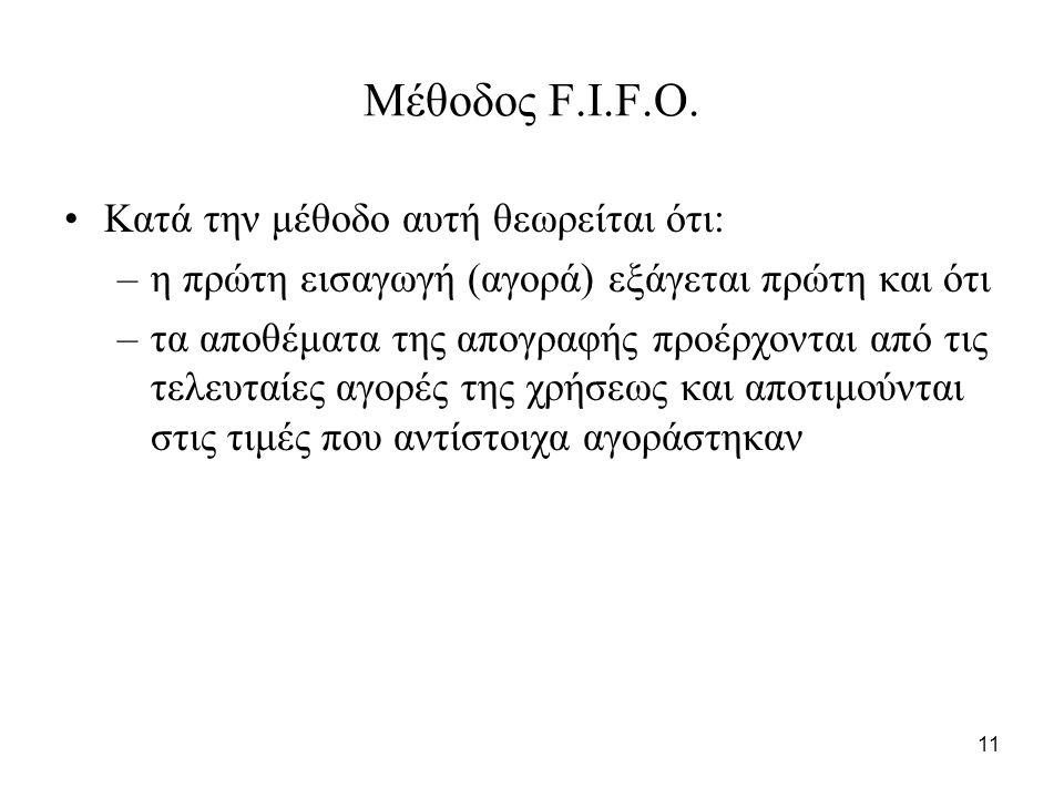 11 Μέθοδος F.I.F.O.