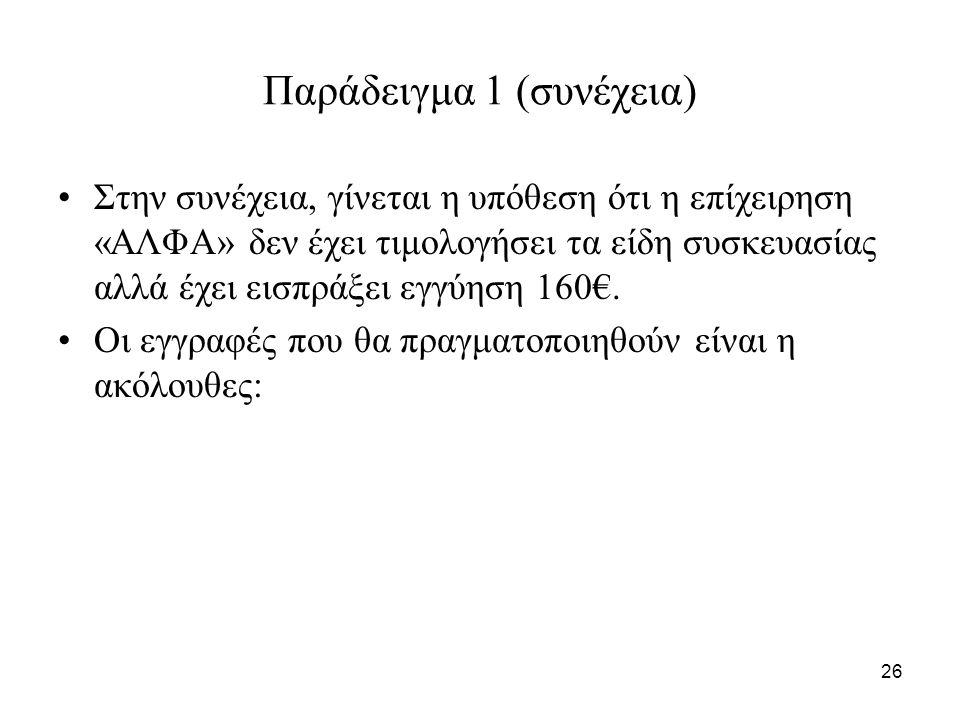 26 Παράδειγμα 1 (συνέχεια) Στην συνέχεια, γίνεται η υπόθεση ότι η επίχειρηση «ΑΛΦΑ» δεν έχει τιμολογήσει τα είδη συσκευασίας αλλά έχει εισπράξει εγγύηση 160€.