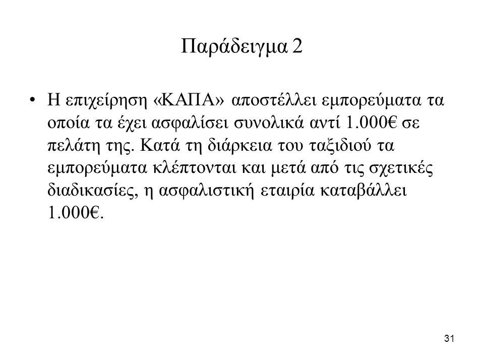 31 Παράδειγμα 2 Η επιχείρηση «ΚΑΠΑ» αποστέλλει εμπορεύματα τα οποία τα έχει ασφαλίσει συνολικά αντί 1.000€ σε πελάτη της.
