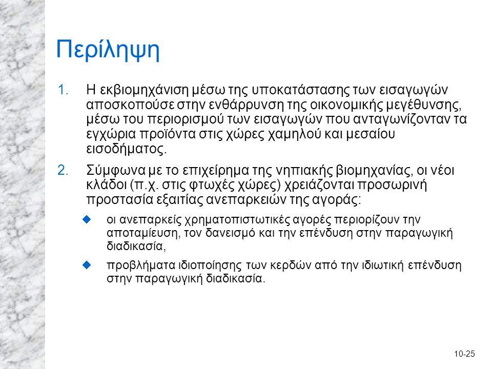 10-25 Περίληψη 1.Η εκβιομηχάνιση μέσω της υποκατάστασης των εισαγωγών αποσκοπούσε στην ενθάρρυνση της οικονομικής μεγέθυνσης, μέσω του περιορισμού των
