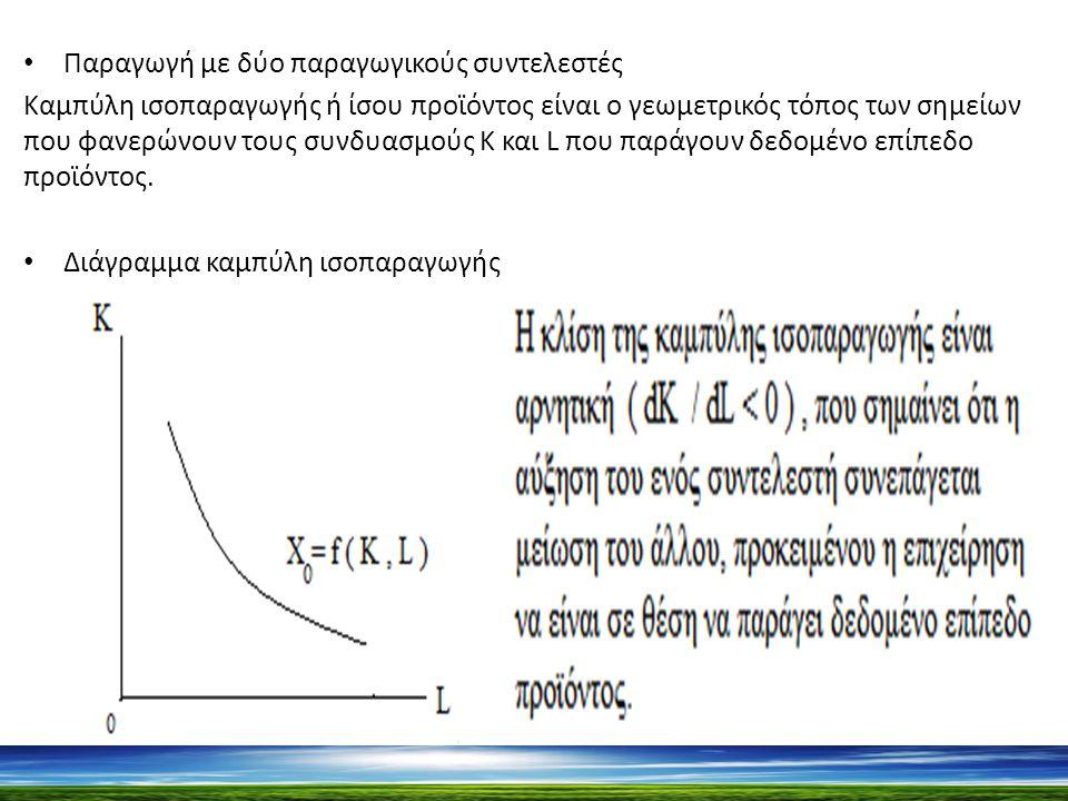 Παραγωγή με δύο παραγωγικούς συντελεστές Καμπύλη ισοπαραγωγής ή ίσου προϊόντος είναι ο γεωμετρικός τόπος των σημείων που φανερώνουν τους συνδυασμούς Κ και L που παράγουν δεδομένο επίπεδο προϊόντος.