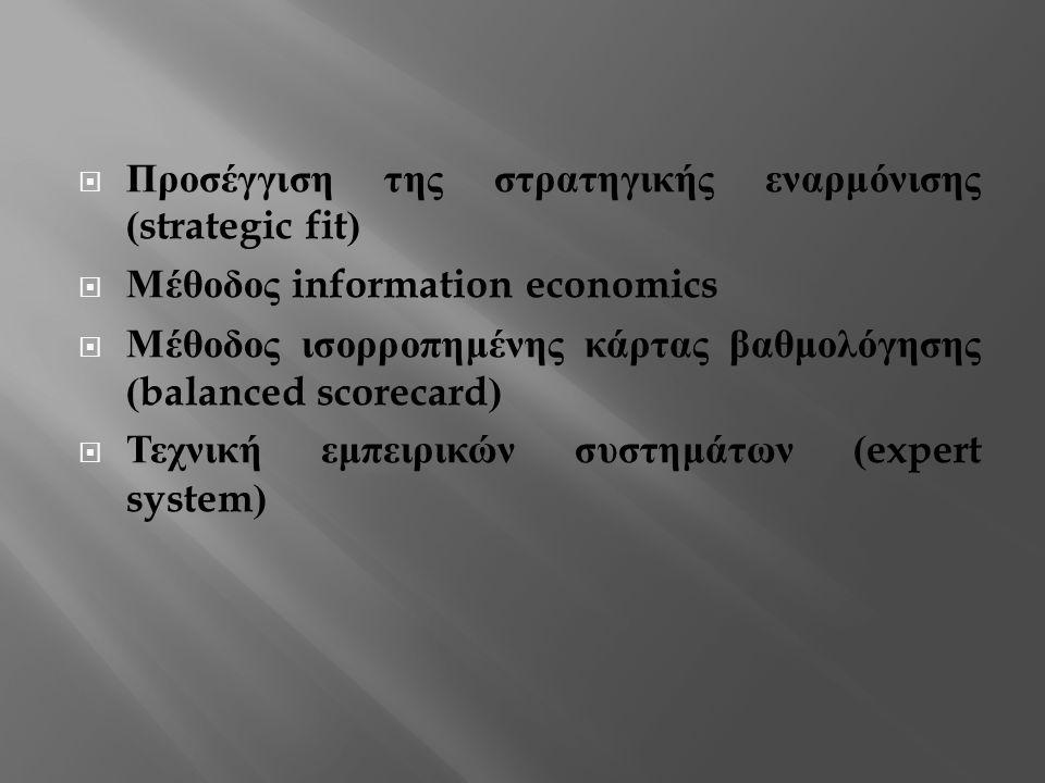  Προσέγγιση της στρατηγικής εναρμόνισης (strategic fit)  Μέθοδος information economics  Μέθοδος ισορροπημένης κάρτας βαθμολόγησης (balanced scorecard)  Τεχνική εμπειρικών συστημάτων (expert system)
