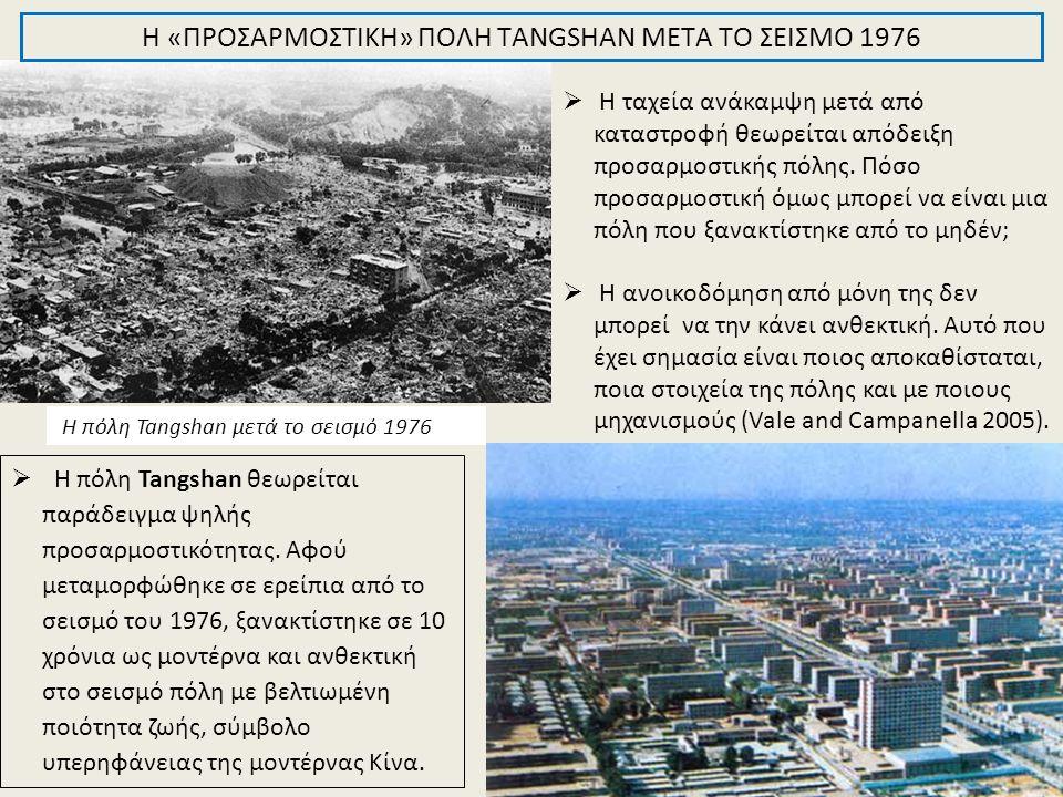  Η πόλη Tangshan θεωρείται παράδειγμα ψηλής προσαρμοστικότητας.