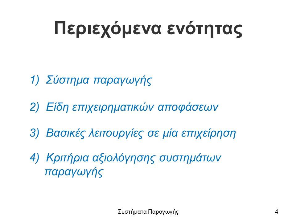 Περιεχόμενα ενότητας 1) Σύστημα παραγωγής 2) Είδη επιχειρηματικών αποφάσεων 3) Βασικές λειτουργίες σε μία επιχείρηση 4) Κριτήρια αξιολόγησης συστημάτων παραγωγής Συστήματα Παραγωγής4