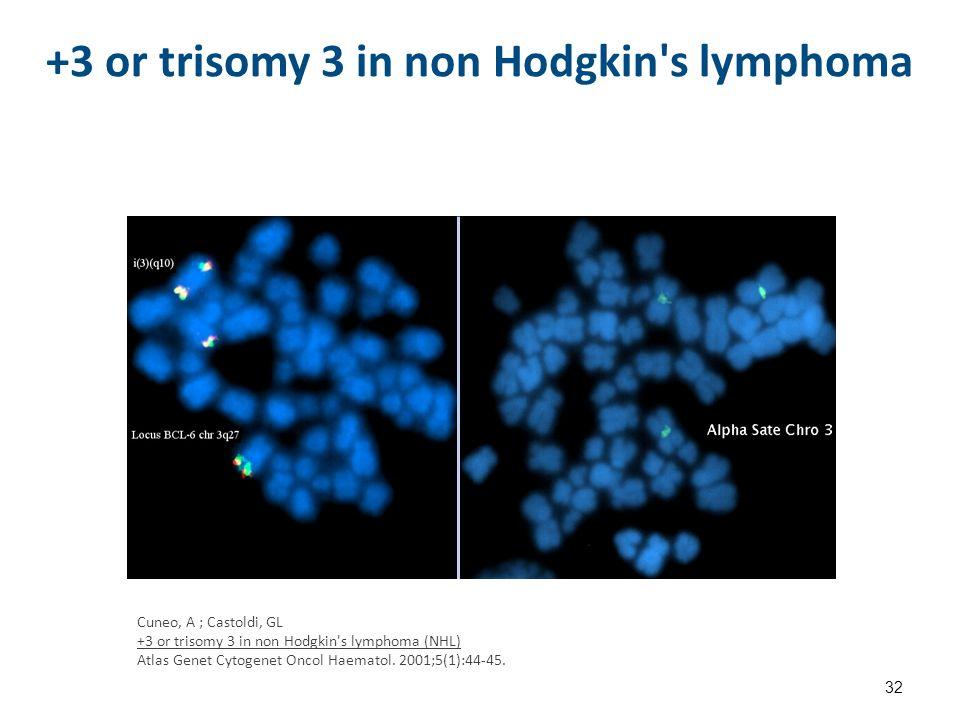 +3 or trisomy 3 in non Hodgkin s lymphoma 32 Cuneo, A ; Castoldi, GL +3 or trisomy 3 in non Hodgkin s lymphoma (NHL) Atlas Genet Cytogenet Oncol Haematol.