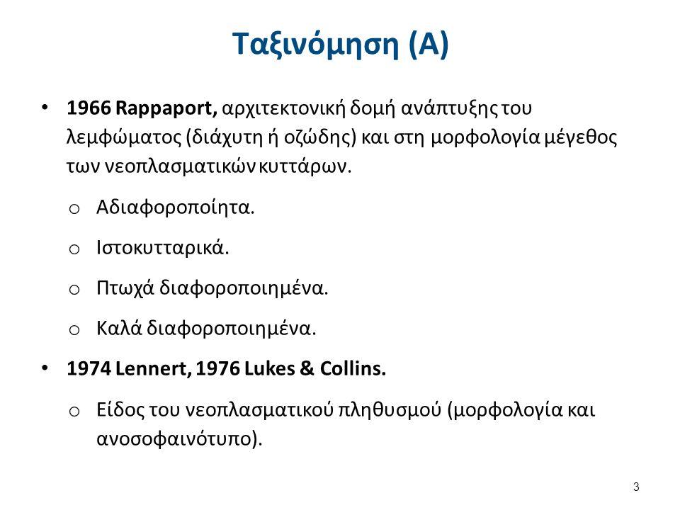 Ταξινόμηση (Α) 1966 Rappaport, αρχιτεκτονική δομή ανάπτυξης του λεμφώματος (διάχυτη ή οζώδης) και στη μορφολογία μέγεθος των νεοπλασματικών κυττάρων.