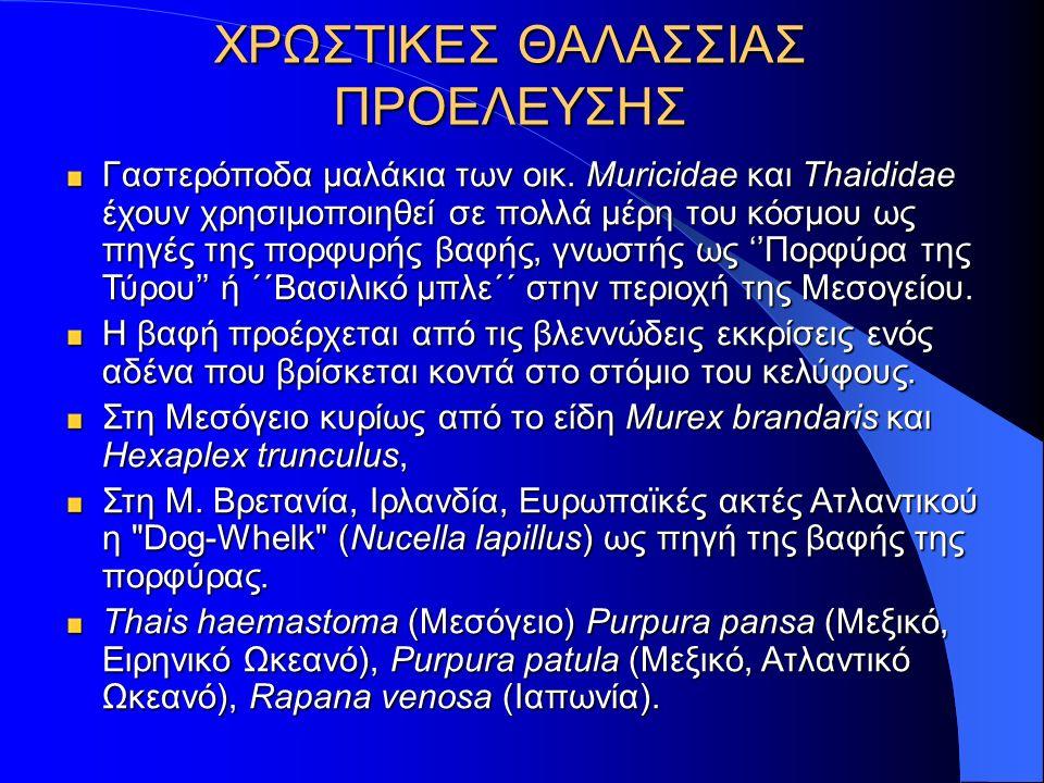 Γαστερόποδα παραγωγής του 'Tyrian purple' Bolinus brandaris Bolinus brandaris (ή Murex brandaris) (ή Murex brandaris) Hexaplex trunculus Hexaplex trunculus (Phyllonotus ή Trunculariopsis) (Phyllonotus ή Trunculariopsis) Ευρωπαϊκές Ατλαντικές Ακτές ΜΕΣΟΓΕΙΟΣΜΕΣΟΓΕΙΟΣ Nucella lapillus (dog whelk) Nucella lapillus (dog whelk)
