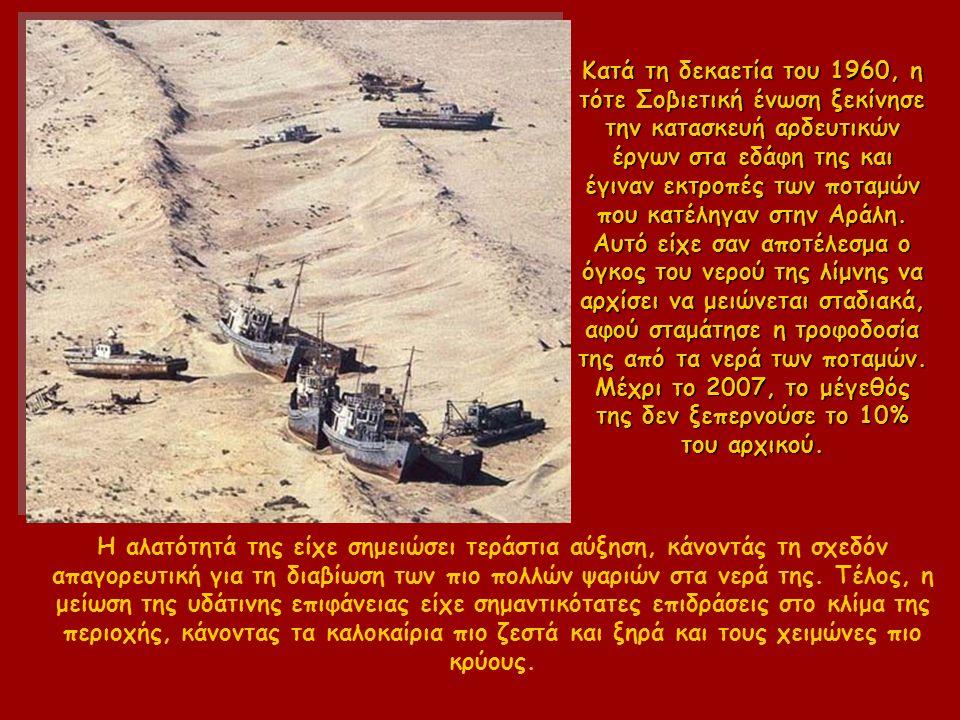 Κατά τη δεκαετία του 1960, η τότε Σοβιετική ένωση ξεκίνησε την κατασκευή αρδευτικών έργων στα εδάφη της και έγιναν εκτροπές των ποταμών που κατέληγαν στην Αράλη.