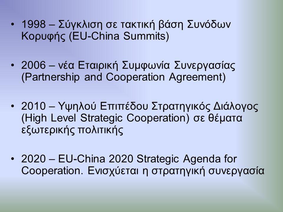 ΙΣΤΟΡΙΚΗ ΕΞΕΛΙΞΗ 1949 – Ίδρυση Λαϊκής Δημοκρατίας της Κίνας 1975 – Σύναψη διπλωματικών σχέσεων μεταξύ Ε.Ε.-Κίνας 1985 – Συμφωνία Εμπορίου και Οικονομικής Συνεργασίας (Trade and Economic Cooperation Agreement) 1989 – Εσωτερικές συγκρούσεις στην Κίνα Εμπάργκο όπλων από Ε.Ε.