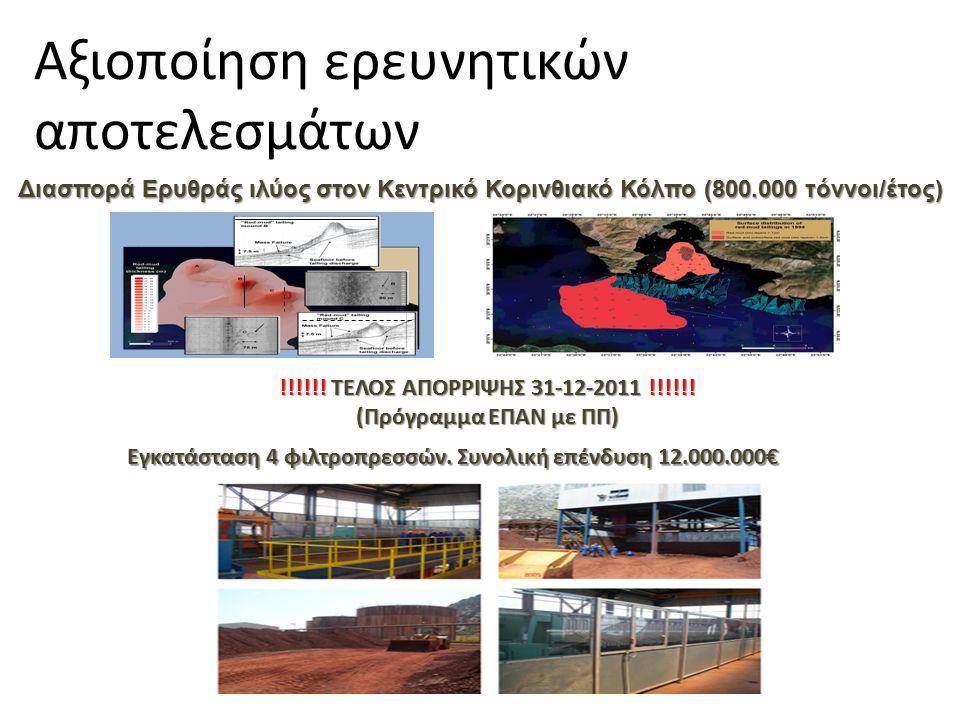 Διασπορά Ερυθράς ιλύος στον Κεντρικό Κορινθιακό Κόλπο (800.000 τόννοι/έτος) Εγκατάσταση 4 φιλτροπρεσσών.