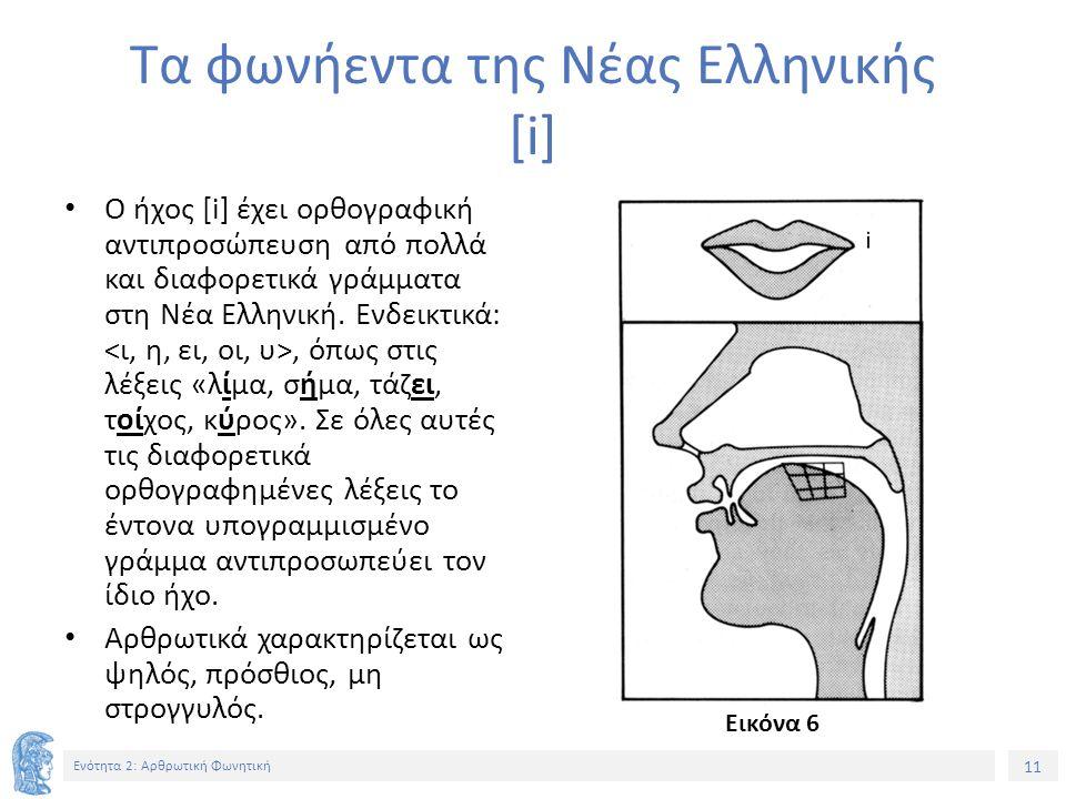 11 Ενότητα 2: Αρθρωτική Φωνητική Τα φωνήεντα της Νέας Ελληνικής [i] Ο ήχος [i] έχει ορθογραφική αντιπροσώπευση από πολλά και διαφορετικά γράμματα στη Νέα Ελληνική.