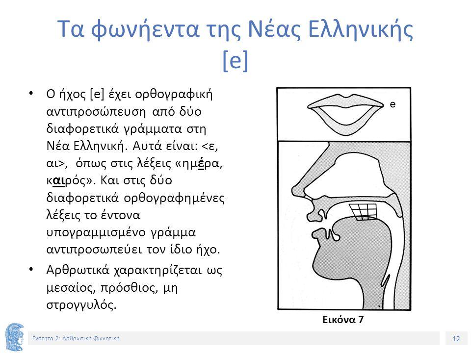 12 Ενότητα 2: Αρθρωτική Φωνητική Τα φωνήεντα της Νέας Ελληνικής [e] Ο ήχος [e] έχει ορθογραφική αντιπροσώπευση από δύο διαφορετικά γράμματα στη Νέα Ελληνική.