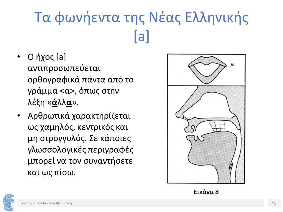 13 Ενότητα 2: Αρθρωτική Φωνητική Τα φωνήεντα της Νέας Ελληνικής [a] Ο ήχος [a] αντιπροσωπεύεται ορθογραφικά πάντα από το γράμμα, όπως στην λέξη «άλλα».