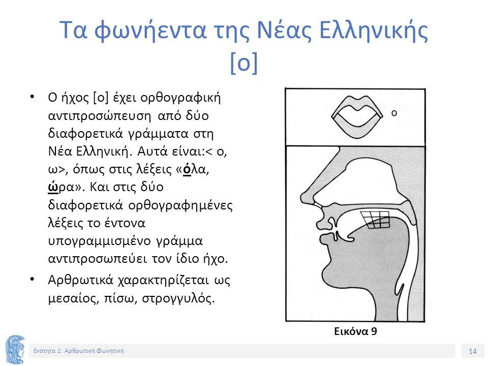 14 Ενότητα 2: Αρθρωτική Φωνητική Τα φωνήεντα της Νέας Ελληνικής [ο] Ο ήχος [o] έχει ορθογραφική αντιπροσώπευση από δύο διαφορετικά γράμματα στη Νέα Ελληνική.