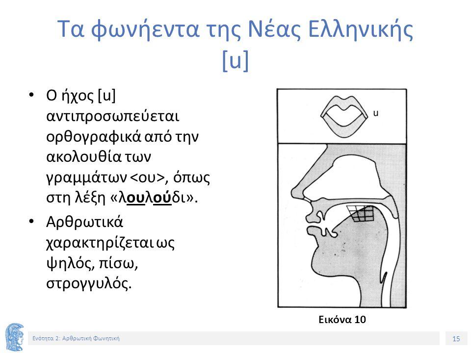 15 Ενότητα 2: Αρθρωτική Φωνητική Τα φωνήεντα της Νέας Ελληνικής [u] Ο ήχος [u] αντιπροσωπεύεται ορθογραφικά από την ακολουθία των γραμμάτων, όπως στη λέξη «λουλούδι».