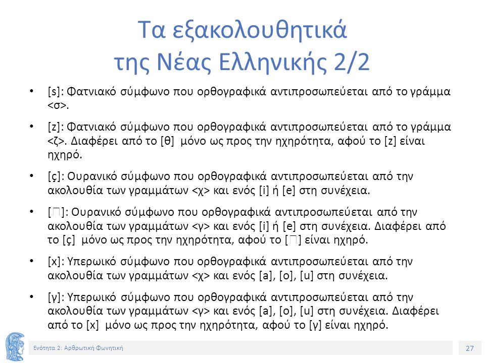 27 Ενότητα 2: Αρθρωτική Φωνητική Τα εξακολουθητικά της Νέας Ελληνικής 2/2 [s]: Φατνιακό σύμφωνο που ορθογραφικά αντιπροσωπεύεται από το γράμμα.