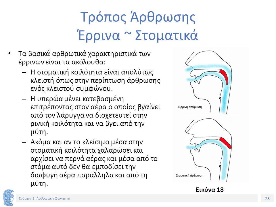 28 Ενότητα 2: Αρθρωτική Φωνητική Τρόπος Άρθρωσης Έρρινα ~ Στοματικά Τα βασικά αρθρωτικά χαρακτηριστικά των έρρινων είναι τα ακόλουθα: – Η στοματική κοιλότητα είναι απολύτως κλειστή όπως στην περίπτωση άρθρωσης ενός κλειστού συμφώνου.