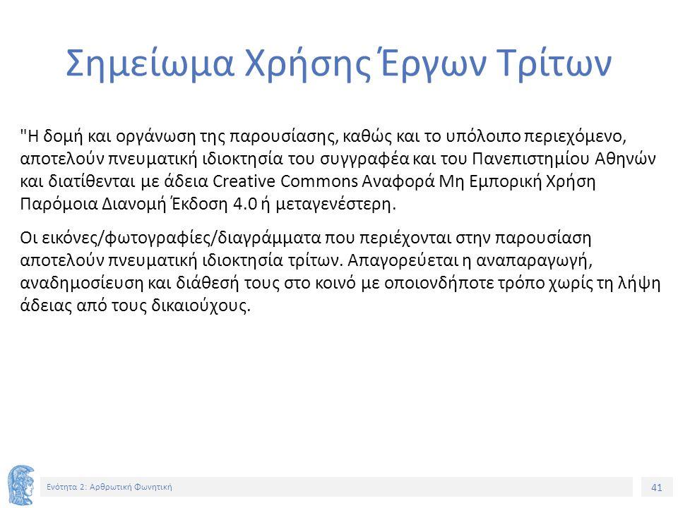 41 Ενότητα 2: Αρθρωτική Φωνητική Σημείωμα Χρήσης Έργων Τρίτων Η δομή και οργάνωση της παρουσίασης, καθώς και το υπόλοιπο περιεχόμενο, αποτελούν πνευματική ιδιοκτησία του συγγραφέα και του Πανεπιστημίου Αθηνών και διατίθενται με άδεια Creative Commons Αναφορά Μη Εμπορική Χρήση Παρόμοια Διανομή Έκδοση 4.0 ή μεταγενέστερη.