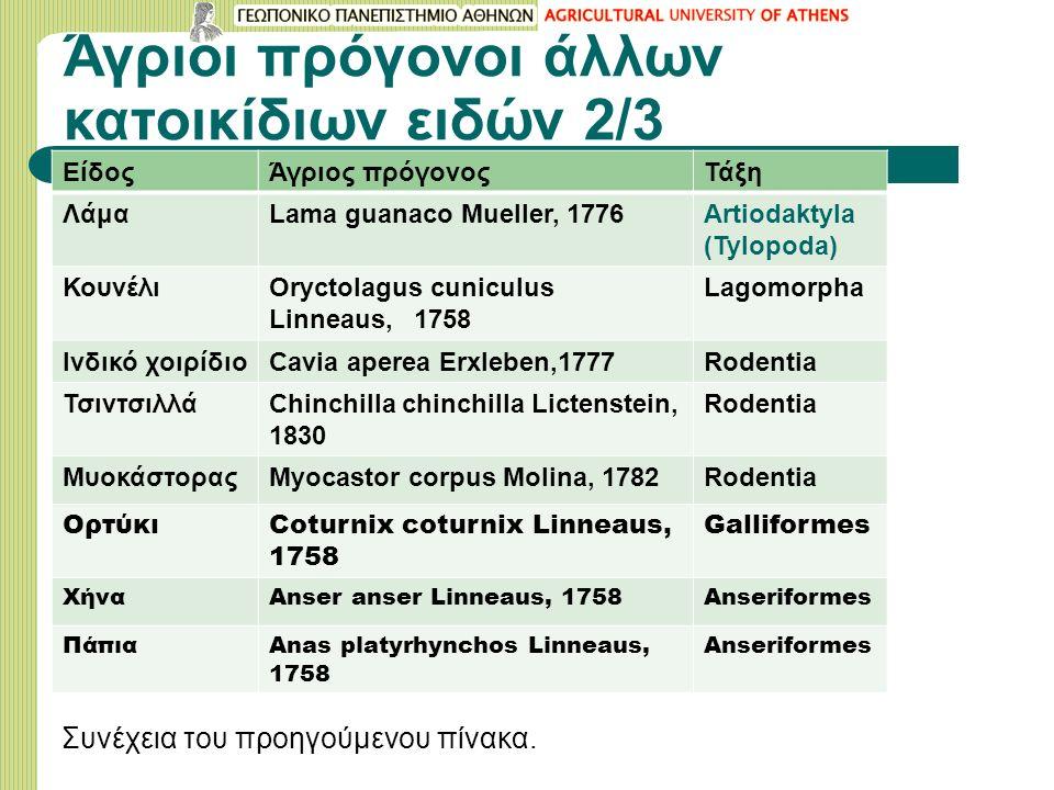 Άγριοι πρόγονοι άλλων κατοικίδιων ειδών 2/3 ΕίδοςΆγριος πρόγονοςΤάξη ΛάμαLama guanaco Mueller, 1776Artiodaktyla (Tylopoda) ΚουνέλιOryctolagus cuniculu