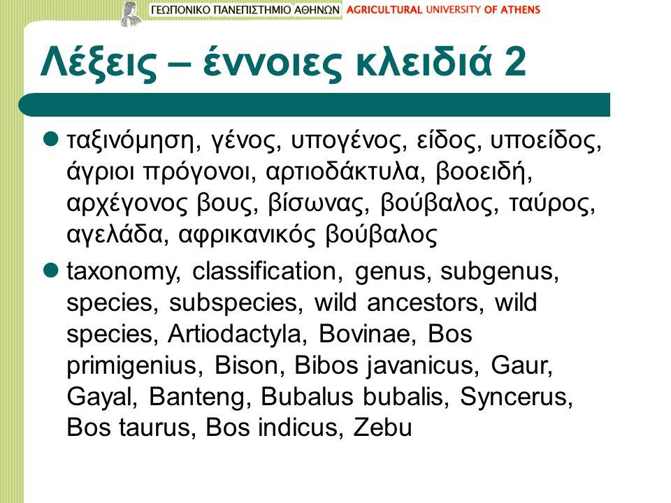Λέξεις – έννοιες κλειδιά 2 ταξινόμηση, γένος, υπογένος, είδος, υποείδος, άγριοι πρόγονοι, αρτιοδάκτυλα, βοοειδή, αρχέγονος βους, βίσωνας, βούβαλος, ταύρος, αγελάδα, αφρικανικός βούβαλος taxonomy, classification, genus, subgenus, species, subspecies, wild ancestors, wild species, Artiodactyla, Bovinae, Bos primigenius, Bison, Bibos javanicus, Gaur, Gayal, Banteng, Bubalus bubalis, Syncerus, Bos taurus, Bos indicus, Zebu
