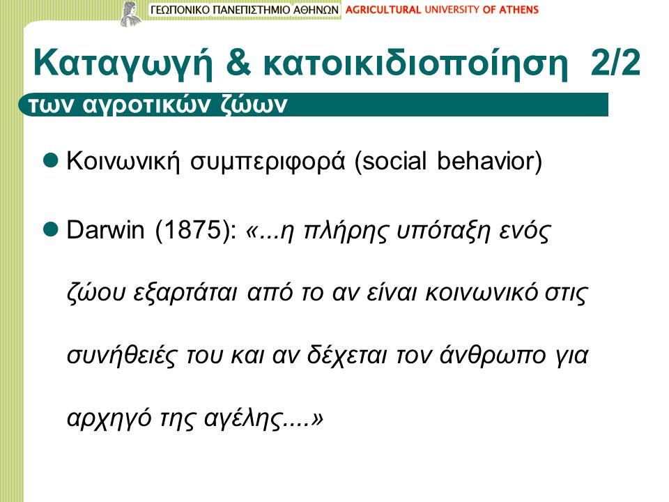 Καταγωγή & κατοικιδιοποίηση 2/2 Κοινωνική συμπεριφορά (social behavior) Darwin (1875): «...η πλήρης υπόταξη ενός ζώου εξαρτάται από το αν είναι κοινωνικό στις συνήθειές του και αν δέχεται τον άνθρωπο για αρχηγό της αγέλης....» των αγροτικών ζώων
