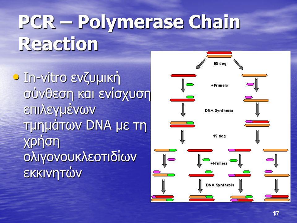 17 PCR – Polymerase Chain Reaction In-vitro ενζυμική σύνθεση και ενίσχυση επιλεγμένων τμημάτων DNA με τη χρήση ολιγονουκλεοτιδίων εκκινητών In-vitro ενζυμική σύνθεση και ενίσχυση επιλεγμένων τμημάτων DNA με τη χρήση ολιγονουκλεοτιδίων εκκινητών 17