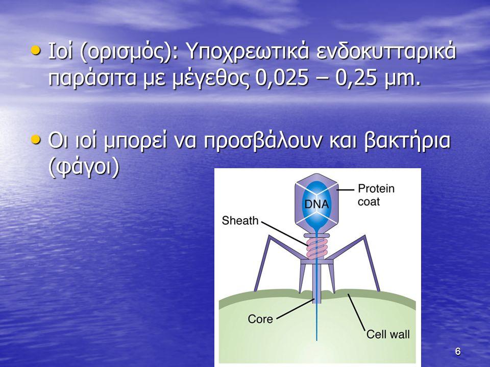 Ιοί (ορισμός): Υποχρεωτικά ενδοκυτταρικά παράσιτα με μέγεθος 0,025 – 0,25 μm.