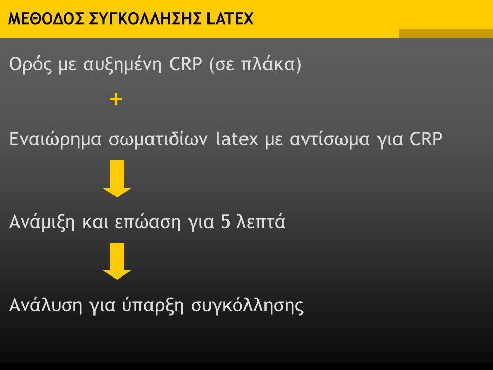 ΜΕΘΟΔΟΣ ΣΥΓΚΟΛΛΗΣΗΣ LATEX Ορός με αυξημένη CRP (σε πλάκα) Εναιώρημα σωματιδίων latex με αντίσωμα για CRP Ανάμιξη και επώαση για 5 λεπτά Ανάλυση για ύπαρξη συγκόλλησης +