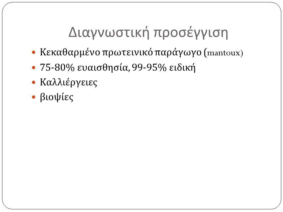 Διαγνωστική προσέγγιση Κεκαθαρμένο πρωτεινικό παράγωγο (mantoux) 75-80% ευαισθησία, 99-95% ειδική Καλλιέργειες βιοψίες