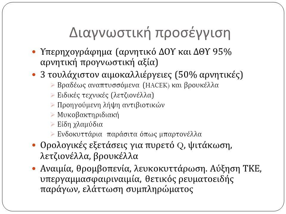 Διαγνωστική προσέγγιση Υπερηχογράφημα ( αρνητικό ΔΟΥ και ΔΘΥ 95% αρνητική προγνωστική αξία ) 3 τουλάχιστον αιμοκαλλιέργειες (50% αρνητικές )  Βραδέως