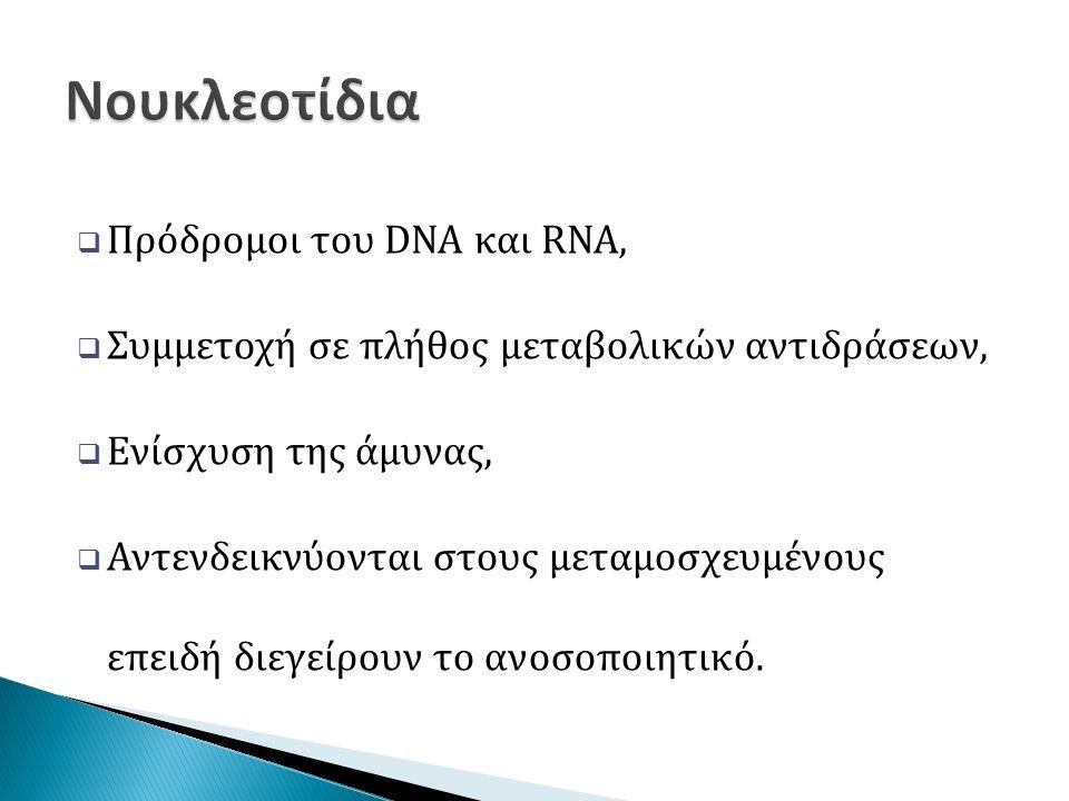  Πρόδρομοι του DNA και RNA,  Συμμετοχή σε πλήθος μεταβολικών αντιδράσεων,  Ενίσχυση της άμυνας,  Αντενδεικνύονται στους μεταμοσχευμένους επειδή διεγείρουν το ανοσοποιητικό.
