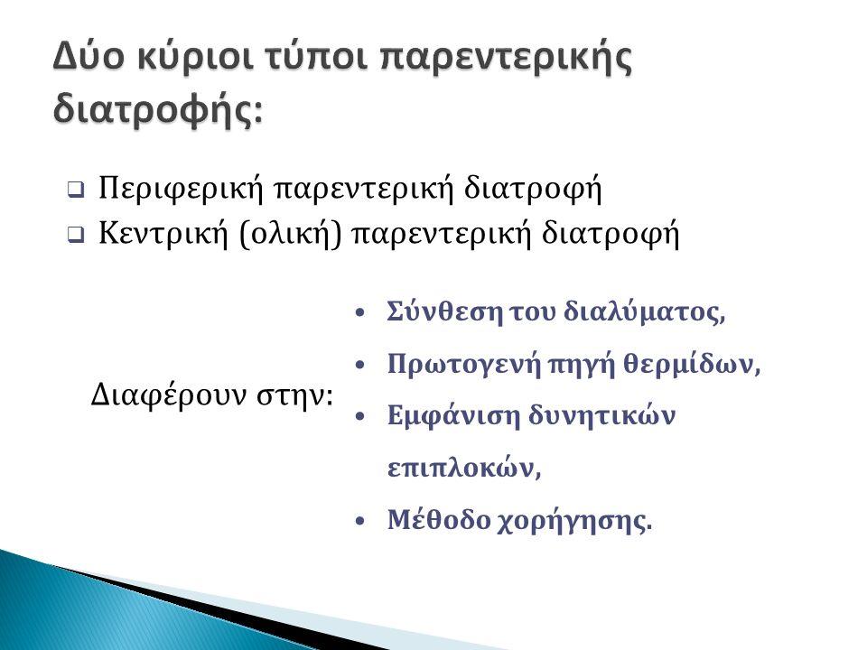  Θρεπτική εκτίμηση,  Εκτίμηση του φλεβικού δικτύου,  Βάρος σώματος,  Εργαστηριακές εξετάσεις αναφοράς.