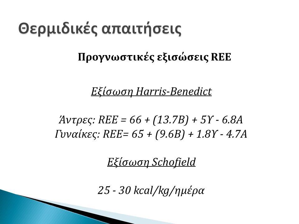 Προγνωστικές εξισώσεις REE Εξίσωση Harris-Benedict Άντρες: REE = 66 + (13.7Β) + 5Υ - 6.8A Γυναίκες: REE= 65 + (9.6Β) + 1.8Υ - 4.7A Εξίσωση Schofield 25 - 30 kcal/kg/ημέρα