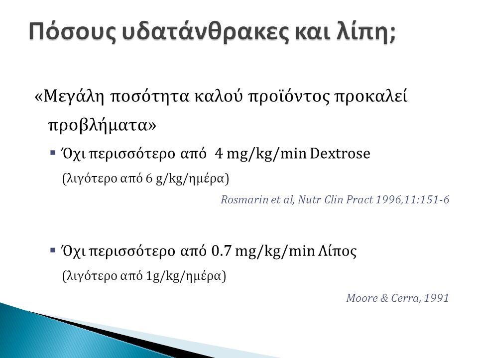 «Μεγάλη ποσότητα καλού προϊόντος προκαλεί προβλήματα»  Όχι περισσότερο από 4 mg/kg/min Dextrose (λιγότερο από 6 g/kg/ημέρα) Rosmarin et al, Nutr Clin Pract 1996,11:151-6  Όχι περισσότερο από 0.7 mg/kg/min Λίπος (λιγότερο από 1g/kg/ημέρα) Moore & Cerra, 1991